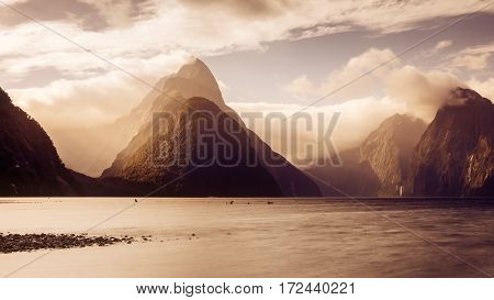 Panoramic Scenic View Of Milford Sound At Sunset, New Zealand