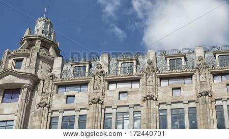 Old city hall of Porto on Avenida dos Aliados Portugal palace facade with statues