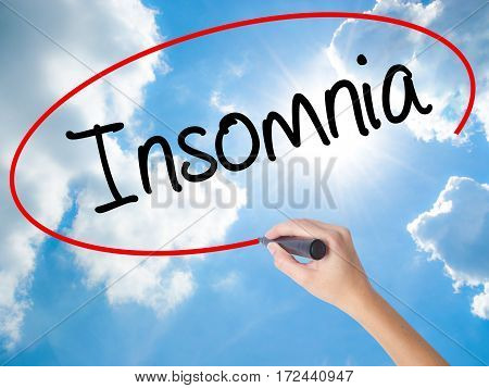 Woman Hand Writing Insomnia With Black Marker On Visual Screen.
