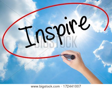 Woman Hand Writing Inspire  With Black Marker On Visual Screen