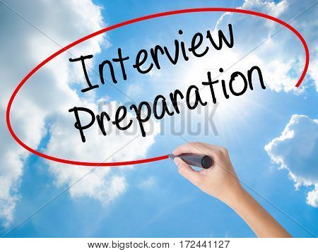 Woman Hand Writing Interview Preparation With Black Marker On Visual Screen