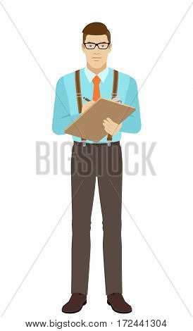 Businessman writes on the clipboard closeup. A man wearing a tie and suspenders. Full length portrait of businessman in a flat style. Vector illustration.