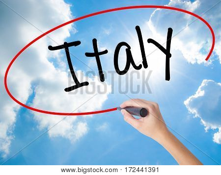 Woman Hand Writing Italy With Black Marker On Visual Screen.