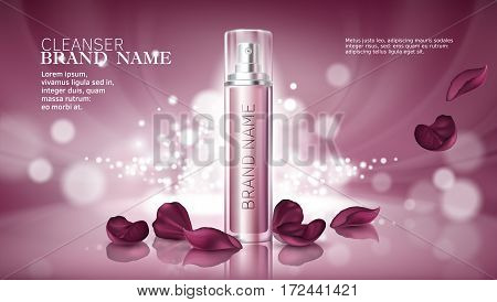 Vector 3D illustration poster with moisturizing cosmetic premium products, pink bokeh background with beautiful spray bottle and rose petals