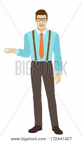 Businessman gesturing. Businessman shows something beside of him. A man wearing a tie and suspenders. Full length portrait of businessman in a flat style. Vector illustration.