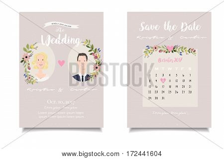 Pictures of bride and groom on beige background of vintage wedding invitation white handwritten letters