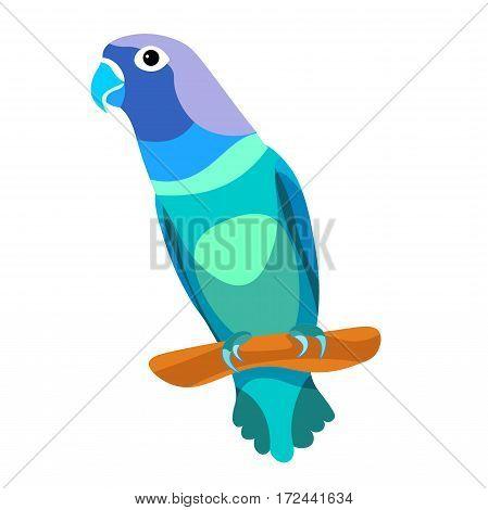 Lovebird Parrot Sitting Head Turned Blue  Vector Illustration