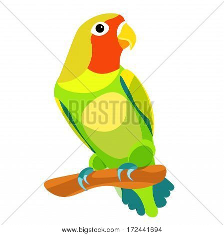 Lovebirds Parrot With A Red Head Vector Illustration