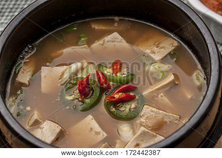 A close up of a popular Korean dish called Denjang Chigae