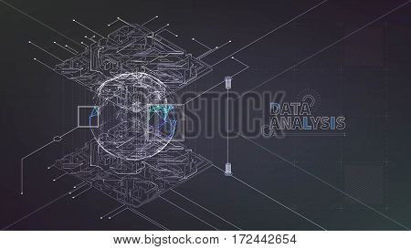 data mining process. Abstract circuit. Structure analysis banner
