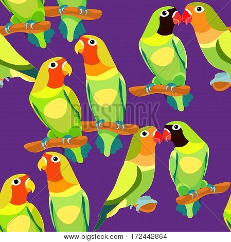 Seamless Pattern Lovebirds Parrot With A Red And Black  Head. Vector Illustration