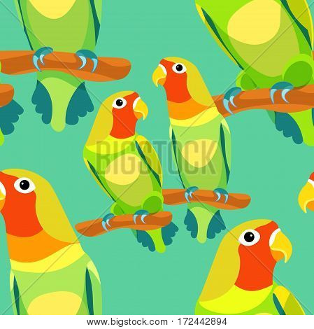 Seamless Pattern Lovebirds Parrot With A Red Head Vector Illustration