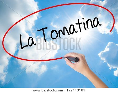 Woman Hand Writing La Tomatina With Black Marker On Visual Screen