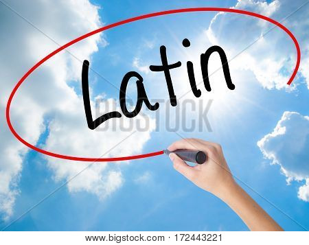 Woman Hand Writing Latin With Black Marker On Visual Screen.