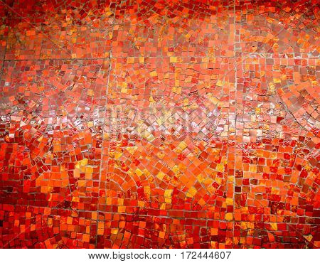 Photos background shiny bright red mosaic of different
