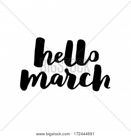 Hello Spring Lettering Typography. Calligraphy Postcard Or Poster Graphic Design Element. Hand Writt