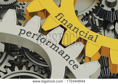 Financial Performance concept on the gears 3D rendering