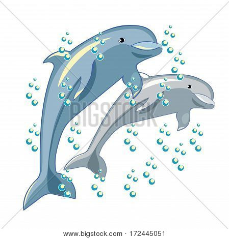Fun The Dolphin Is Smiling. Vector Illustration