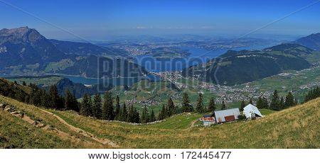Lake Vierwaldstattersee in summer view from mount Stanserhorn.