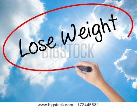 Woman Hand Writing Lose Weight With Black Marker On Visual Screen