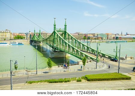 Freedom Bridge Connecting Buda And Pest Across Dunabe River In Budapest, Hungary