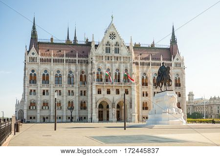 Hungarian National Parliament Building In Budapest Viewed From The Side Of Main Entrance, Hungary