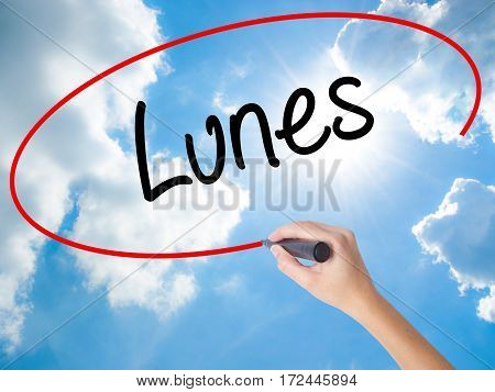 Woman Hand Writing Lunes (monday In Spanish) With Black Marker On Visual Screen