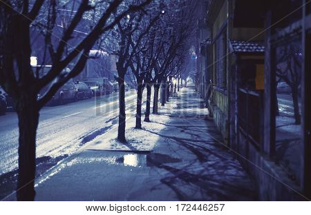 Dark Balkan Street In Winter