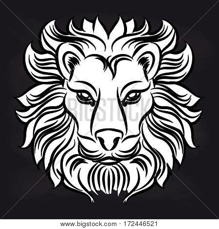 Black and white lion head design on blackboard. Vector illustration