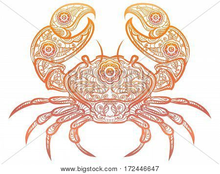 Colorful crab isolated on white background. Vector ornate decorative doodle crab design