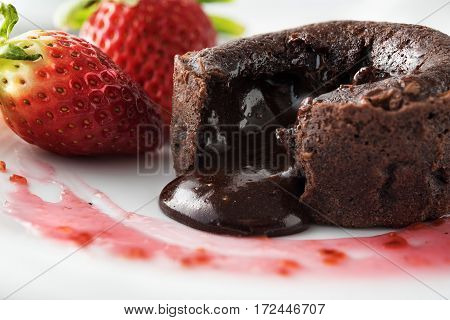 Chocolate Souffle With Strawberries