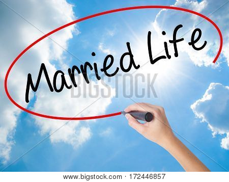 Woman Hand Writing Married Life With Black Marker On Visual Screen