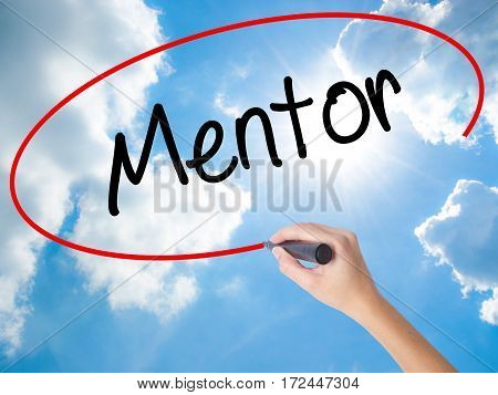 Woman Hand Writing Mentor  With Black Marker On Visual Screen