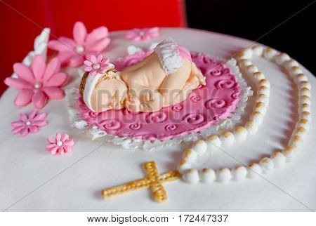 Christening cake for baby girl traditional sugar decorations for christening or birthday cake