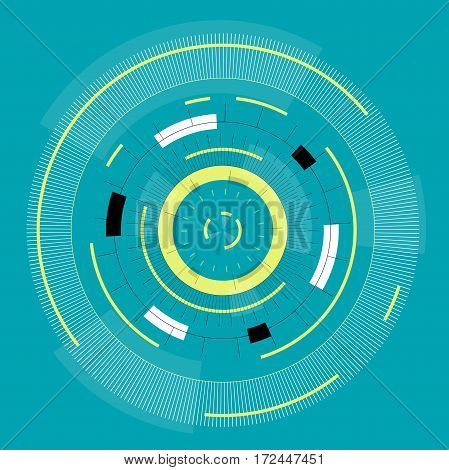 Abstract round high-tech mandala with circles. Space Time machine. Transparent fill up screen or monitor. Isolated central sight of wheels. Subtle mechanical bizarre clock gear on blue. Master vector