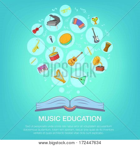 Musical instruments blue concept set. Cartoon illustration of musical instruments blue vector concept for web