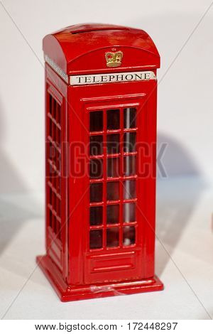 Red Color Phone Booth On White Background