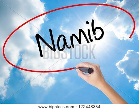 Woman Hand Writing Namib  With Black Marker On Visual Screen