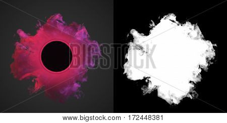 Abstract pink dust wave on dark background with alpha channel 3d rendering