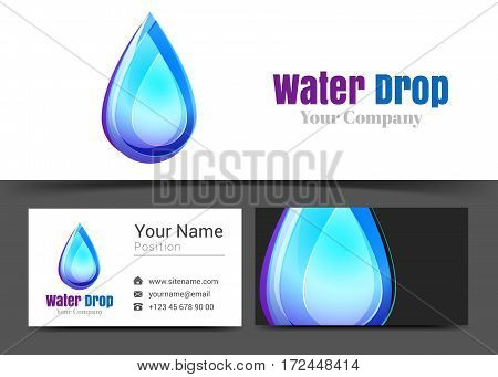 Water Drops Corporate Logo and Business Card Sign Template. Creative Design with Colorful Logotype Visual Identity Composition Made of Multicolored Element. Vector Illustration.
