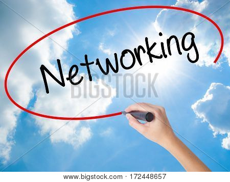 Woman Hand Writing Networking With Black Marker On Visual Screen