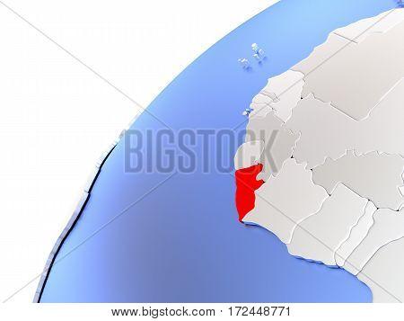 Liberia On Modern Shiny Globe
