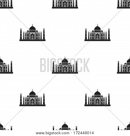Taj Mahal icon in black style isolated on white background. India pattern vector illustration.