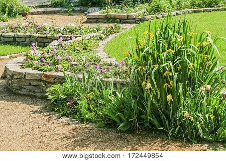 Beautiful blooming garden with retaining walls green lawn and flower beds on a sunny summer day