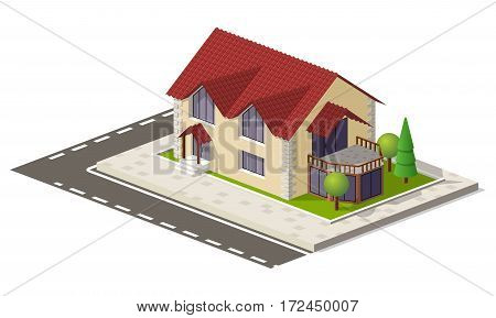 Beautiful small isometric house on green ground isolated on white. Property, real estate, construction and rent concept.