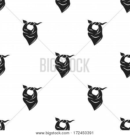 Cowboy scarf icon in black style isolated on white background. Wlid west pattern vector illustration.