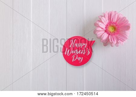 Pink gerbera flower on white wood vintage background. 8 march or Valentines day love design. Happy Womens day speech bubble. Painted wooden planks.