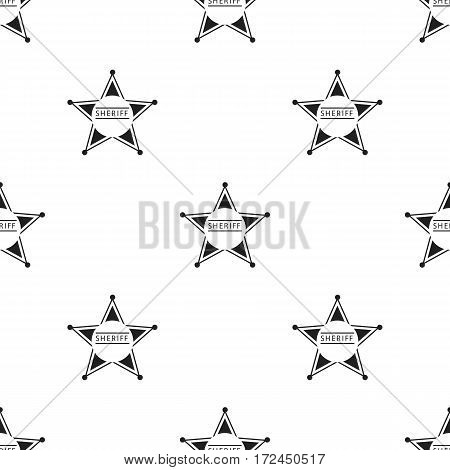 Sheriff icon in black style isolated on white background. Wlid west pattern vector illustration.