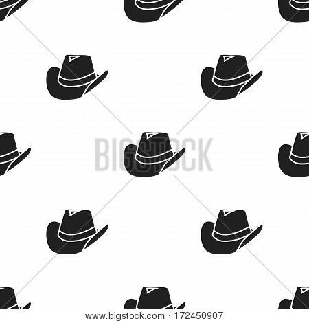 Cowboy hat icon in black style isolated on white background. Wlid west pattern vector illustration.