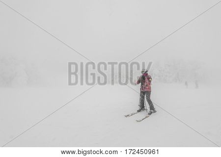 Yamakata, Japan - February 7, 2017: People at Rope-way in winter Zao ski moutain, Yamagata Japan .